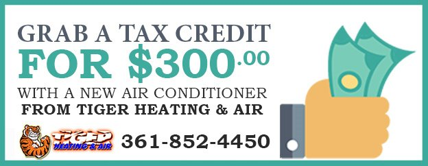 Promotional ad for potential $300 tax credit for new energy efficient AC installation