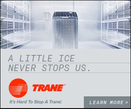 "Trane ""a little ice doesn't stop us"" AC unit frozen to ensure quality"