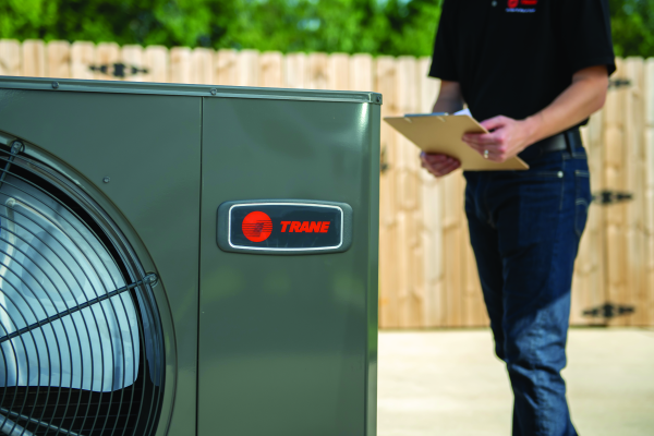 AC installation technician with Trane air conditioner