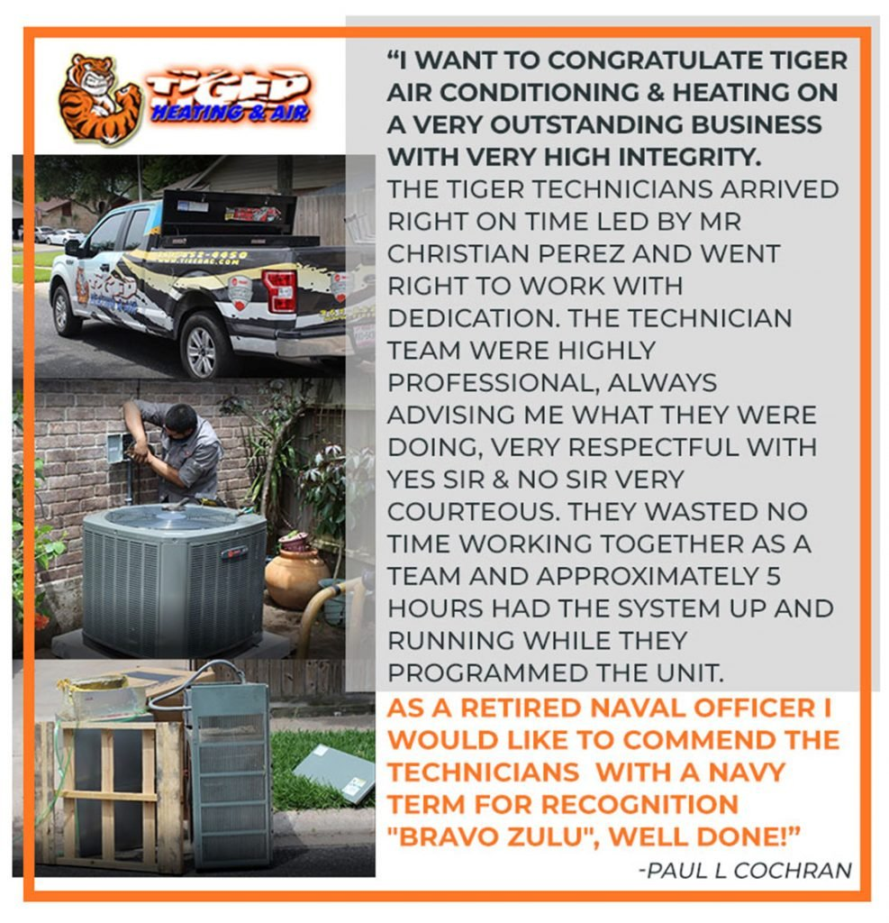 Glowing review for air conditioning work done by Tiger in Corpus Christi