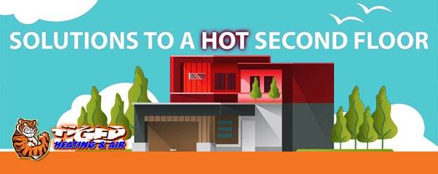 Graphic image of house showing the 2nd floor is too hot